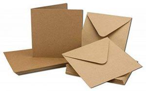 Cartons d'invitation en papier kraft - Vierges - Enveloppes incluses - Papier brun recyclé Lot de 50 marron de la marque Neuser image 0 produit