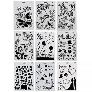 Ccmart Plastique Dessin Peinture Pochoir modèles Lot de 9avec papillons, fleurs, oiseaux, figurines, forme d'animaux, forme de cœur Pecfect pour ordinateur portable/agenda/scrapbook/Journalisation)/carte DIY Craft projet de la marque CCMART image 0 produit