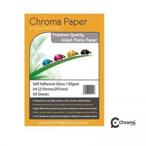 Chroma-A4 entièrement auto-adhésif High Gloss Papier Photo pour impression jet d'encre-Qualité supérieure - 50 feuilles de Papier de 130 g/m ² de la marque Chroma image 0 produit