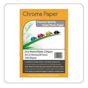 Chroma-Duo Mat A4 Double face à jet d'encre Papier Photo mat de grande qualité 220 g/m ² - 100 feuilles de la marque Chroma image 0 produit
