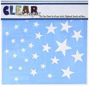 Clair restes de pochoirs de plastique 30,5cm X 30,5cm étoiles de la marque Clear Scraps image 0 produit
