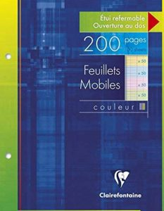 Clairefontaine, 1 Etui de 200 Feuilles mobiles 4 couleurs, perforées à grand carreaux, format : 17x22cm de la marque Clairefontaine image 0 produit