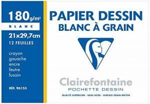 Clairefontaine 196155AMZC Dessin à Grain pochette 12F 21x29,7cm 180g à grain Blanc - lot de 2 de la marque Clairefontaine image 0 produit