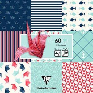 Clairefontaine 95319C Poch 60 feuilles Origami 15x15 Marine Bleu et rouge de la marque Clairefontaine image 0 produit