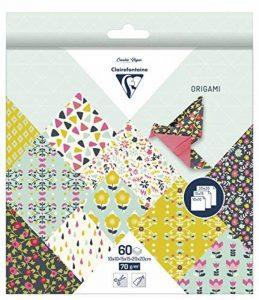 Clairefontaine 95344C Pochette 60 Feuilles Origami comprenant 3 format 10 x 10/15 x 15/20 x 20 cm motif Fleurs de la marque Clairefontaine image 0 produit