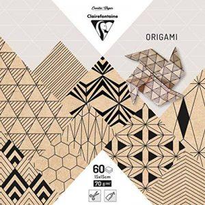 Clairefontaine 95350C Pochette de 60 Feuilles Origami format 15 x 15 cm Krafty de la marque Clairefontaine image 0 produit