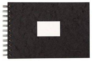Clairefontaine 96060C Carnet de Voyage album spiralé 20F 14,8x21cm 300g grain torchon Noir - couverture grain cuir de la marque Clairefontaine image 0 produit