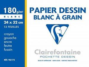 Clairefontaine 96175C - une Pochette de 12 Feuilles de Dessin à Grain Blanc - 180 g - 24x32 cm de la marque Clairefontaine image 0 produit