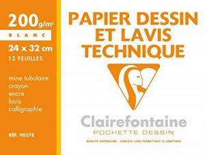 Clairefontaine 96278C Dessin Technique pochette 12F 24x32cm 200g papier lisse Blanc de la marque Clairefontaine image 0 produit