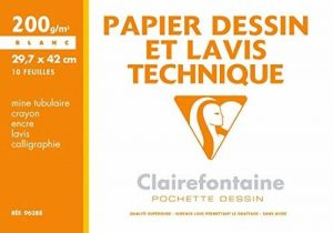 Clairefontaine 96288C Dessin Technique pochette 10F 29,7x42cm 200g papier lisse Blanc de la marque Clairefontaine image 0 produit