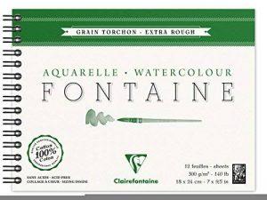 Clairefontaine 96320C Fontaine Aquarelle bloc spiralé 12F 18x24cm 300g grain torchon Blanc de la marque Clairefontaine image 0 produit