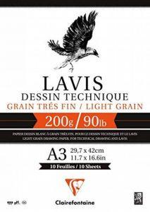 Clairefontaine 96342C Lavis Technique bloc collé 10F 29,7x42cm 200g grain très fin Blanc de la marque Clairefontaine image 0 produit