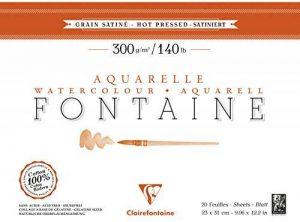 Clairefontaine 96344C Fontaine Aquarelle bloc collé 4 côtés 20F 23x31cm 300g grain satiné Blanc de la marque Clairefontaine image 0 produit