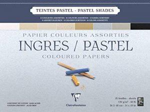 Clairefontaine 96489C Ingres Pastel bloc collé 25F 36x48cm 130g papier vergé Assortiment Pastel de la marque Clairefontaine image 0 produit