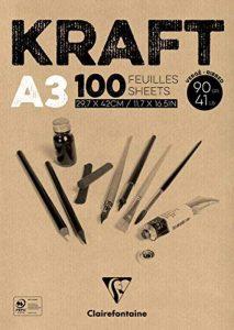 Clairefontaine 96546C Kraft bloc collé 100F 29,7x42cm 90g papier vergé Brun de la marque Clairefontaine image 0 produit