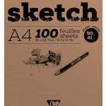 Clairefontaine 96604C Sketch bloc spiralé 100F 21x29,7cm 90g grain très léger Blanc de la marque Clairefontaine image 1 produit