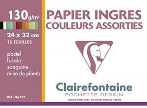 Clairefontaine 96775C Ingres Pastel pochette 12F 24x32cm 130g papier vergé Assortiment Pastel de la marque Clairefontaine image 0 produit