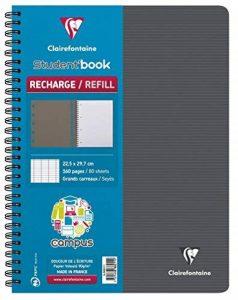 Clairefontaine Campus 888211C Cahier -Recharge à spirale pour Student'Book 160 pages grands carreaux 90 g 22,5 x 29,7 cm Couleur Aléatoire de la marque Clairefontaine image 0 produit