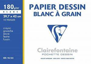 Clairefontaine - Pochette de 10 Feuilles Papier à Dessin - Format A3-180 g - Blanc de la marque Clairefontaine image 0 produit