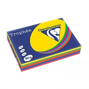 Clairefontaine Trophée Ramette 5x100F papier 80g A3 Intense soleil/menthe/cardinal/Bleu/fuchsia de la marque Clairefontaine image 0 produit