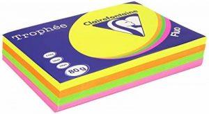 Clairefontaine Trophee Ramette de 500 feuilles papier couleur 80 g A4 Fluo Rose Jaune Vert Orange de la marque Clairefontaine image 0 produit