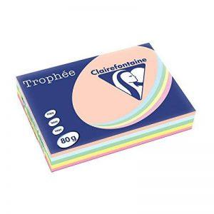 Clairefontaine Trophee Ramette de 500 feuilles papier couleur 80 g A4 Pastel Rose Canari Vert Bleu Saumon de la marque Clairefontaine image 0 produit
