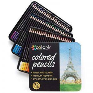 Colore Crayons de couleur - Ensemble de 72 crayons de couleur prime Pré-taillés pour dessiner des pages à colorier - Un super équipement d'art scolaire pour enfants et adultes - Livres à colorier- 72 couleurs de la marque Colore image 0 produit
