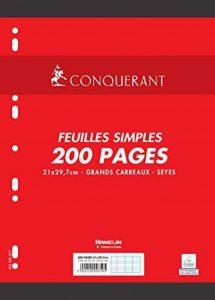 Conquérant Feuilles simples perforées A4 90 g 200 pages grands carreaux seyès de la marque Oxford image 0 produit