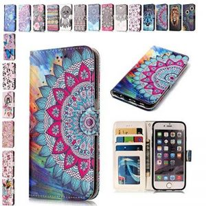 Coque iPhone X, E-Mandala Housse en Cuir avec TPU Silicone bumper 3D Motif Dessin Flip Case Portefeuille Etui pour Apple iPhone X Wallet Leather Cover à Rabat Bookstyle avec Stand Support et Carte de Crédit Slot Antichoc Ultra Resistante 360 Degres Protec image 0 produit