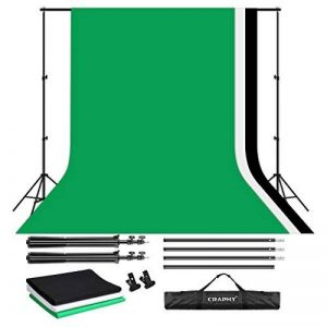 CRAPHY 3Mx2M Kit de Support de fond Studio Photo avec 3 Fonds Pliables(Blanc/Vert/Noir) - 1 Support de Fond + 3x3Mx2M Fond tissu(Vert/Noir/Blanc) + 2 Pinces + 1 Sac de Transport de la marque CRAPHY image 0 produit