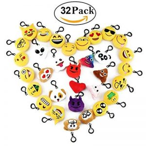 Cusfull Lot de 20-32 pcs Mini Emoji Porte-clés en Peluche Mignon Émoticône Emoji pour Décorations Enfants Cadeau de Fête Noël de la marque Cusfull image 0 produit