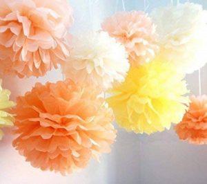 CUTADORNS Lot de 8boules de fleurs pompons en papier de soie pour la décoration de fête de mariage bébé fille Décoration de chambre d'enfant, 25,4cm (Vert Blanc Rouge Doré) de la marque CUTADORNS image 0 produit