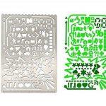 Cymax Acier Inoxydable Règle Dessin règle de peinture pochoirs portable en acier inoxydable de multifonctions avec des motifs variés Graphiques Modèle de Numéro Ruler Stencils,Paquet de 3 de la marque Cymax image 4 produit