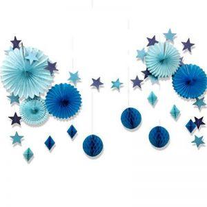 Deco Bapteme Garcon Bleu Papier Boule Eventail Decoration Baby Shower Mariage Anniversaire Noel Etoile Guirlande de la marque SUNBEAUTY image 0 produit