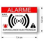Decooo.be Autocollants dissuasifs Alarme - Système électronique - Lot de 12 - Dimensions 7,4 x 5,2 cm de la marque Decooo.be image 1 produit