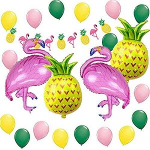 Décoration de fête de plage hawaïenne, accessoires de fête d'été tropicales MMTX Luau Hawaii Thème Party avec des ballons d'hélium d'ananas de Flamingo, bannière Decor Bunting Bunting et ballons de fête en latex Pack de 23 de la marque MMTX image 0 produit