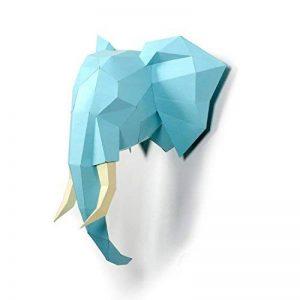 DIY 3D Pré-coupé Papercraft Kit, Timorn 3D Head Décoration murale, Trophée de la tête d'éléphant de la marque Timorn image 0 produit