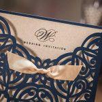 Dream Planner carré Bleu marine découpé au laser Invitation de mariage Cartes avec papier kraft d'invitation avec nœud en dentelle manches fiançailles Mariage Douche d'anniversaire Quinceanera, 50Pcs, Cw6179b bleu de la marque Dream Planner image 4 produit