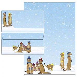 Drôles de suricate en hiver papier à lettres + enveloppes DIN long sans fenêtre 25 Blatt Briefpapier + 25 Kuverts mit Mappe de la marque Ideenstadl image 0 produit