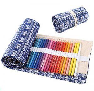 dubens 72trous emballage Support Crayon Wrap Boîte Porte Crayon, Trousse à crayons Trousse à crayons pour artistes, l'école, le bureau et Bohemian (pas Crayons colorées) Éléphants de la marque DUBENS image 0 produit