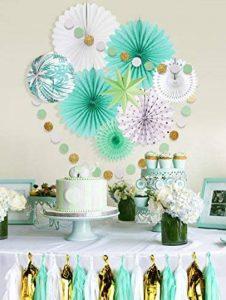 Easy Joy Decoration Chambre Vert Menthe Kit Papier Rosace Guirlande Tassel Vert Doré Blanc pour Salle, Mariage, Anniversaire, Baby Shower Déco de la marque Easy Joy image 0 produit