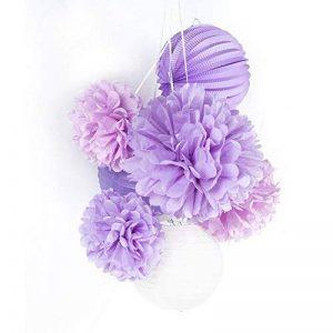Easy Joy Pompon Papier de Soie Violet Boule Papier Decoration pour Salle Mariage, Chambre - 7 pcs de la marque Easy Joy image 0 produit