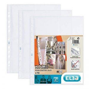 Elba - 100207022-10 Pochettes Perforées pour Photos Polypropylène Lisse A4 Incolore de la marque Elba image 0 produit