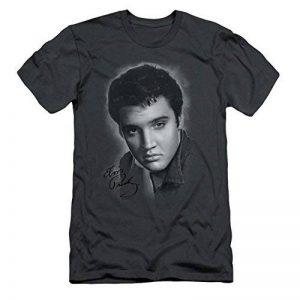 Elvis Presley - - Les hommes de T-shirt gris Portrait au fusain de la marque Elvis Presley image 0 produit