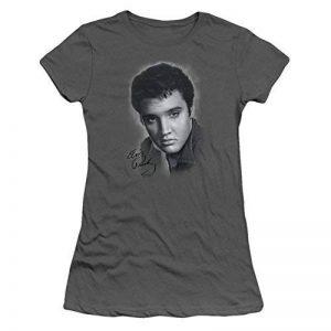 Elvis Presley - T-shirt gris Portrait de femme au fusain - de la marque Elvis Presley image 0 produit