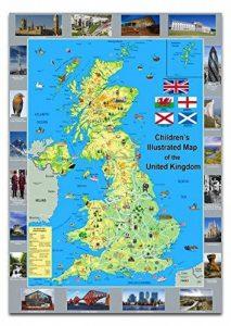 Enfant Illustré Poster Carte du Royaume-Uni–Papier laminé A1 de la marque Tiger image 0 produit