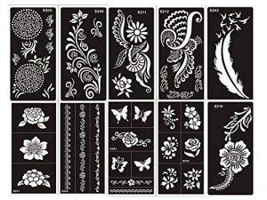 Ensemble de 10feuilles de pochoirs designs henné à usage unique pour le corps. Convient également aux tatouages pailletés ou à l'aérographe de la marque Beyond Paradise image 0 produit