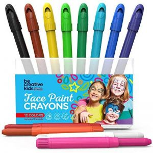 Ensemble de 12marqueurs pour peinture sur le visage avec 12pochoirs et e-book Pour enfants Non toxiques Peinture à l'eau de qualité facile à appliquer et longue durée Boîte robuste de la marque LoveArtsCrafts image 0 produit