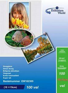 EtikettenWorld - 300 Feuilles Papier Photo 10x15 cm (100x150mm) Premium Haute Brillance 230g de la marque EtikettenWorld image 0 produit
