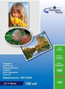 EtikettenWorld BV Paquet de 100 feuilles de papier photo imperméable ultrabrillant 13x18cm 260g/m² de la marque EtikettenWorld BV image 0 produit